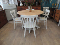 Gorgeous shabby chic farmhouse dining table with 4 chairs