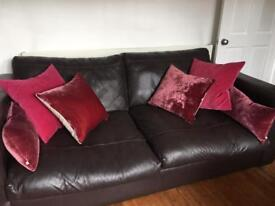 4 seater brown leather sofa