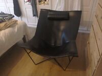 Habitat black leather retro chair