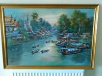 Original Oil Painting of Bangkok Floating Market.