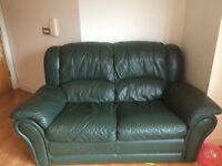 BARGAIN - 2 Seater Leather Sofa & Double Bed & Mattress & IKEA 3 Door Wardrobe