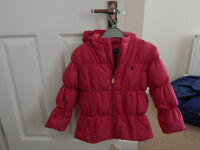Ralph Lauren girls hot pink padded jacket, hooded, age 6