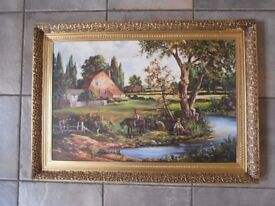 Vintage Country Scene Print in Gilt Effect Frame in Style of John Constable