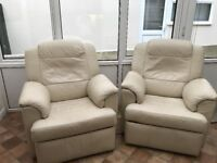 TWO - Cream leather ELECTRIC reclining armchairs