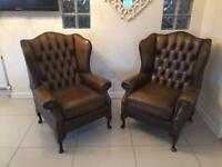 RARE & STUNNING PAIR OF CHESTERFIELD QUEEN ANNE CHAIRS IN WHISKEY BROWN