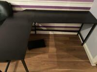 Black corner desk and footstool