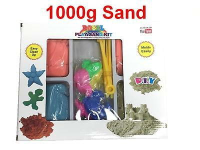Magic Motion Moving Sand 1000g 1kg BOX Set Moulds Tools Children Toy Never Dry