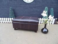 CHOCOLATE BROWN LEATHER EXTRA LARGE BLANKET BOX/COFFEE TABLE/CHEST VERY SOLID CHEST