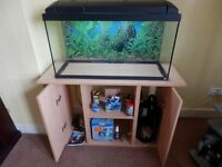 Fish Tank, cabinet and all equipment needed. £140 for quick sale. Collect from Rutherglen.