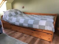 Pine bed with storage drawer or additional bed frame