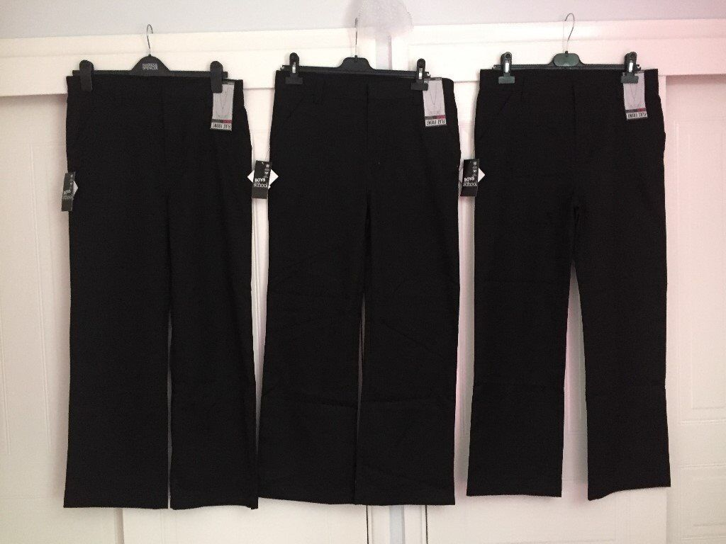 Next Boys Black School Trousers Age 15 plus fit - 3 Pairs - New with Tags