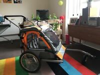 Double Seat Bike Trailer, Buggy, dog trailer with handle bar, Halfords, brand new!