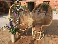 2x Vintage Peacock wicker chairs