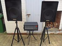 """P.A. System-Fender Mixer with Yamaha 15"""" Speakers"""