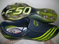 adidas f50 football boots adult size 12 complete with 2 boxes of studs & spanner used in vgc