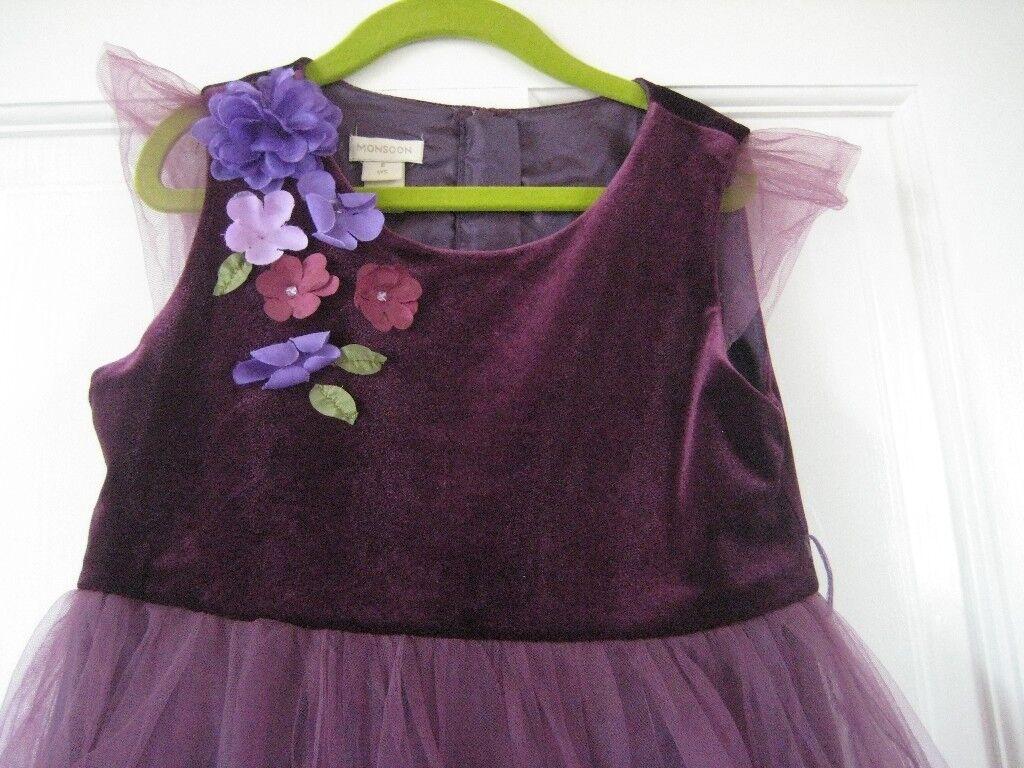 Monsoon party dress 6-8 years. burgundy velvet top and purple net ...