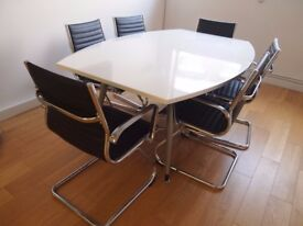 Opal White Boardroom table & 6 Mayfair chairs