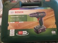 Bosch cordless drill 18v with case etc like new