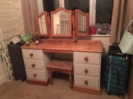 Regent Pine painted/upcycled dressing table and sidetables