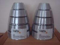 Two Brushed Aluminium ' Cut Away' Pendant Light Shades - Brand New - still in packaging