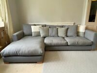 Sofa with left-hand chaise