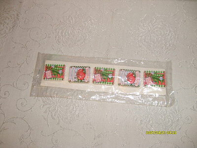 vtg set of (5) button covers seed packet design current, inc. new org package