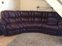 Lazy Boy Luxury Brown Leather with Power Recliner Corner Sofa