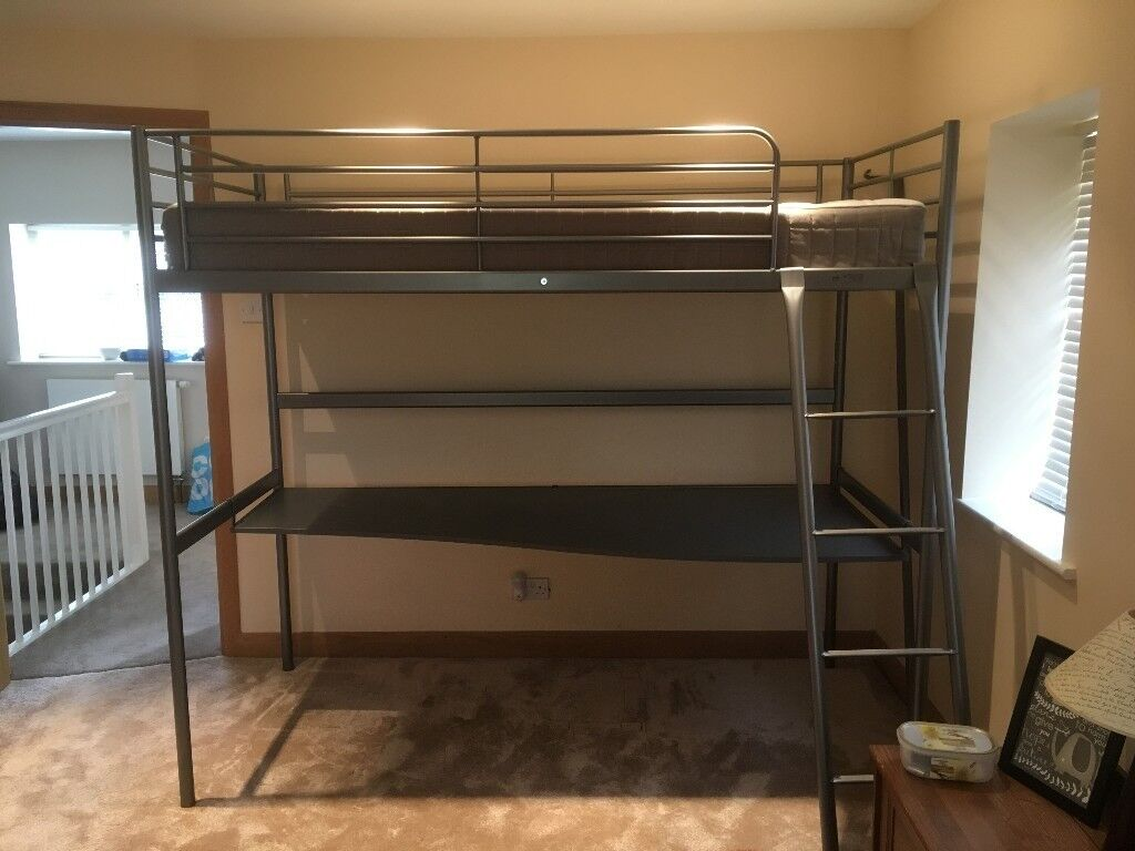Ikea Svarta Loft Bed Frame With Desktop Excellent