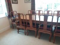 Very Large Old Extendable Dining Table & Chairs Seats 10 - 12 Burmese Teak