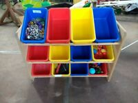 Wooden toy storage unit with 12 tubs