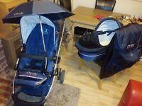 Icandy I candy travel system stroller pushchair Pram carrycot etc blue