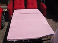 Two seater bed settee, single chair and ottoman foot stool