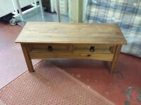 mexican pine 2 drawer tv unit