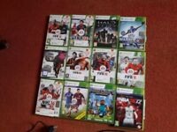 Xbox 360 with two controllers, all wires and 12 games