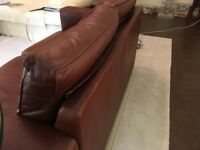Excellent condition Ox Blood/Rich Brown 2 seater sofa with matching Armchair. Hardly used