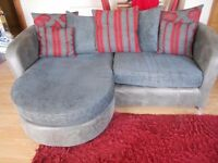 Beautiful large sofa in charcoal & red