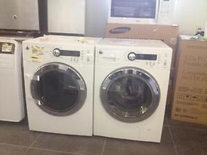 GE 2.6 Cu.Ft. Front Load Washer & 4 Cu. Ft. Electric Dryer - White