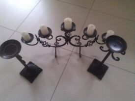 Cast iron candle holders (set of three candle holders)