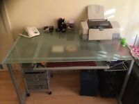 Home office Desk & Shelves in stylish grey + chair + filing cabinet