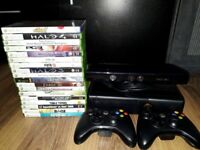 250gb Xbox 360 with Kinect, 2 controllers and games