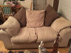 Two seater cream waffle sofa