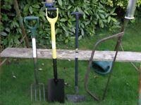 Garden Tools Spade Fork Bow Saw Grass Edging Spade