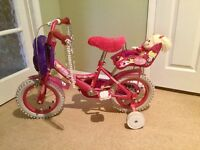 Girls Raleigh Bike with stabilisers. Age 4+. Immaculate condition