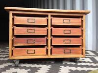 Vintage school drawers / haberdashery /plan chest