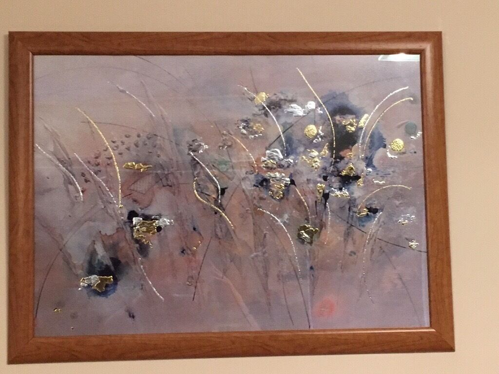 Very contemporary large picture. In oak frame.