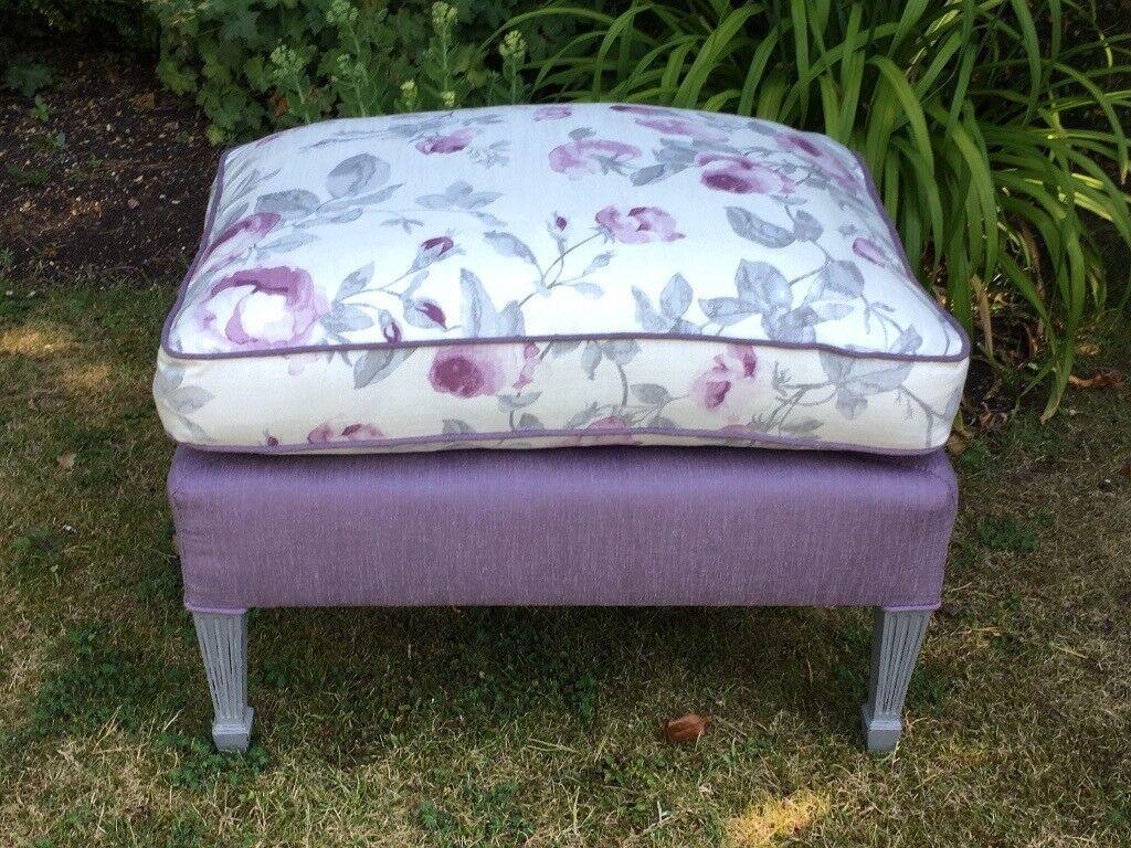 Fully refurbished and reupholstered vintage footstool