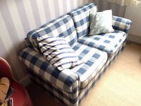 2 Seater Sofa Bed (Blue and White Checked) + more items..