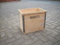 Lovely Vintage Wooden Crate from Boots