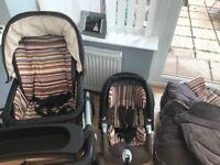 Mamas and papas brown cord Paul smith design travel system pram