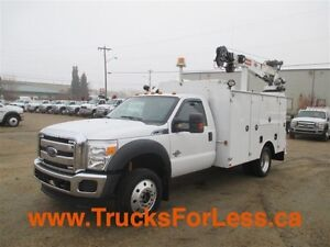 2012 ford F-550 XLT 4X4, BODY + CRANE + COMPRESSOR!!!